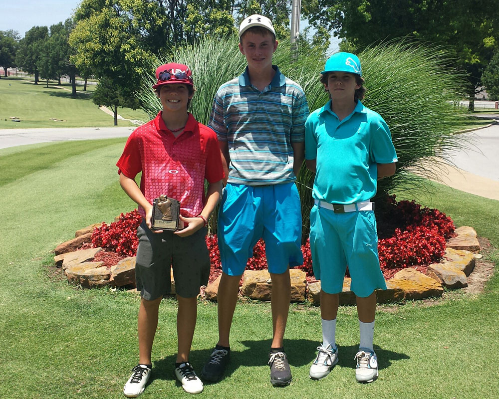 Poteau golfers Bryson Terry, left, Ryan Ward, center and Braxton Sullivan placed in a golf tournament at Meadowbrook