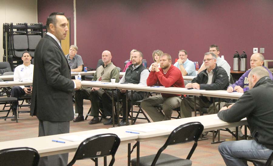 Trooper Charles Cowden conducts active shooter training with area school administrators and law enforcement.