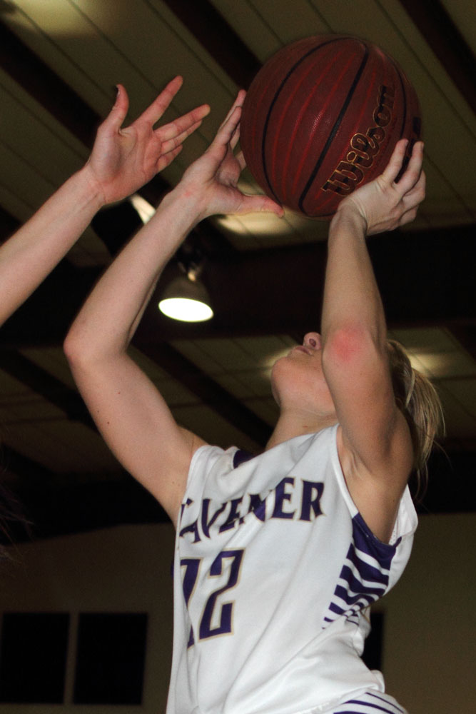 Heavener's Kacee Manley gets a shot off in the win over Talihina.