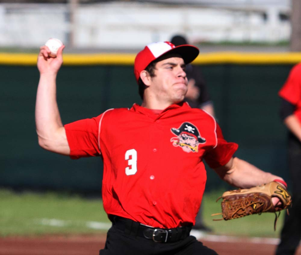 Roger Barcheers, shown pitching in an earlier game against Heavener, and Poteau open play in the 2015 baseball LCT on Monday