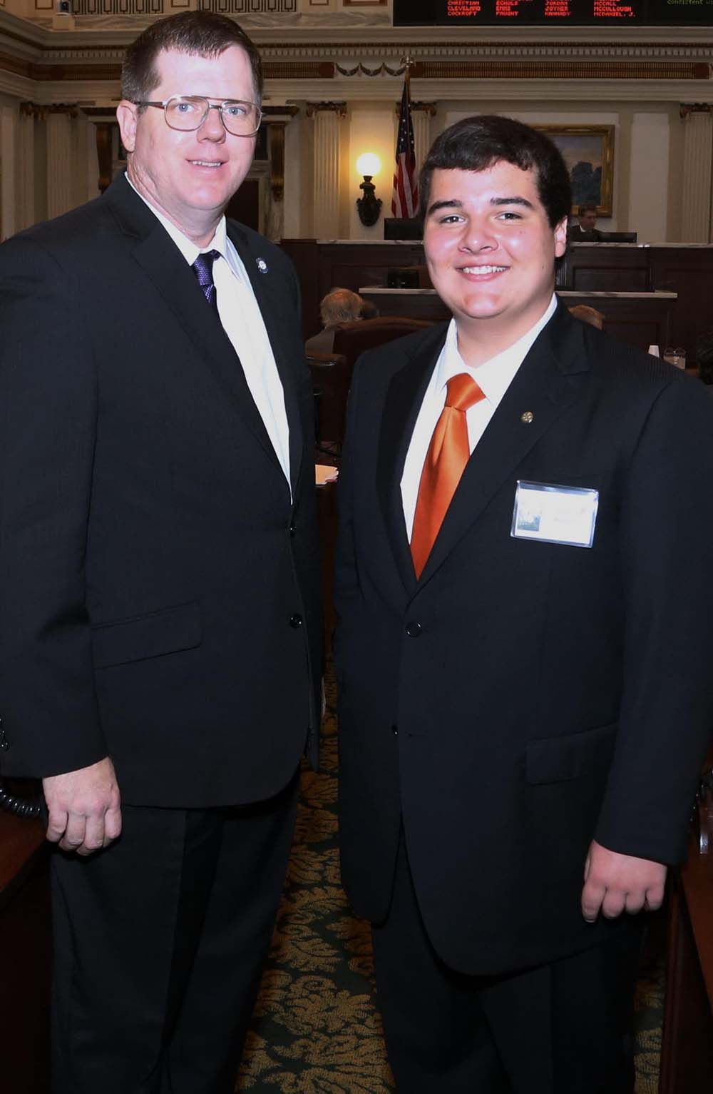 LeFlore senior Isaac Walden, right, served as a page for Rep. James Lockhart