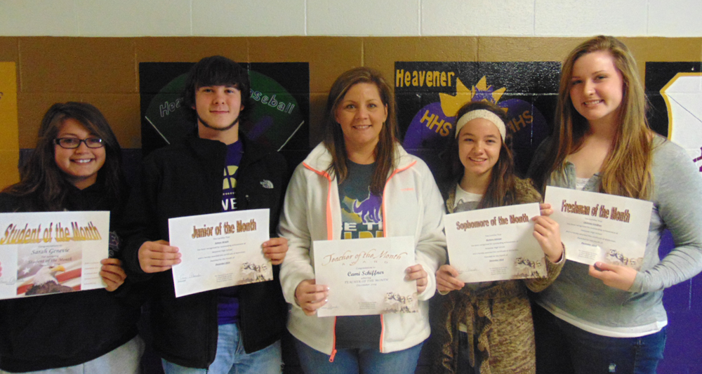 Students of the month for December are (left to right) Sarah Genevie, senior; Ashton Wright, junior; Cami Schiffner, teacher; Barbara Johnson, sophomore;  and Christian Schiffner, Freshman.
