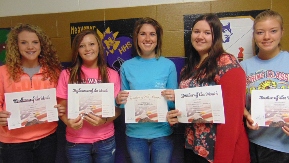 Pictured l-r Students of the Month for February are Reagan Alexander, senior; Felicia Thomison, junior; teacher is Rachel Huddleston; Jaxi Freeman, sophomore; and Malorie Hall, freshman. The overall student of the month was Jaxi Freeman.