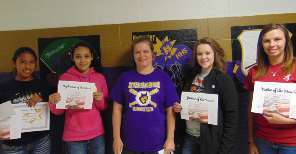Pictured l-r Student of the Month for March are Tiffany Taylor, senior; Emaline Wiles, junior; teacher is Kellie Sanders; Samatha Serrano, sophomore; and Iris Martinez, freshman. The overall student of the month for March was Iris Martinez.