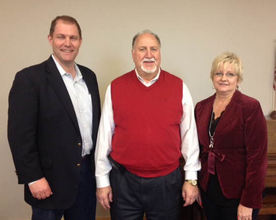 State Chairman Dave Weston, outgoing chairman Roger Mattox, and Traci Barnes.