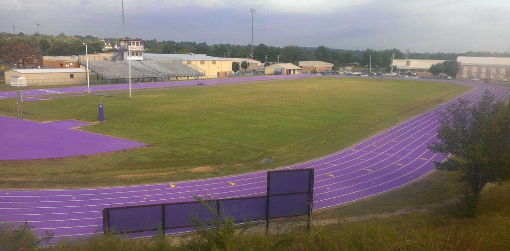 The striping and numbers have been applied to the track at Costner Stadium