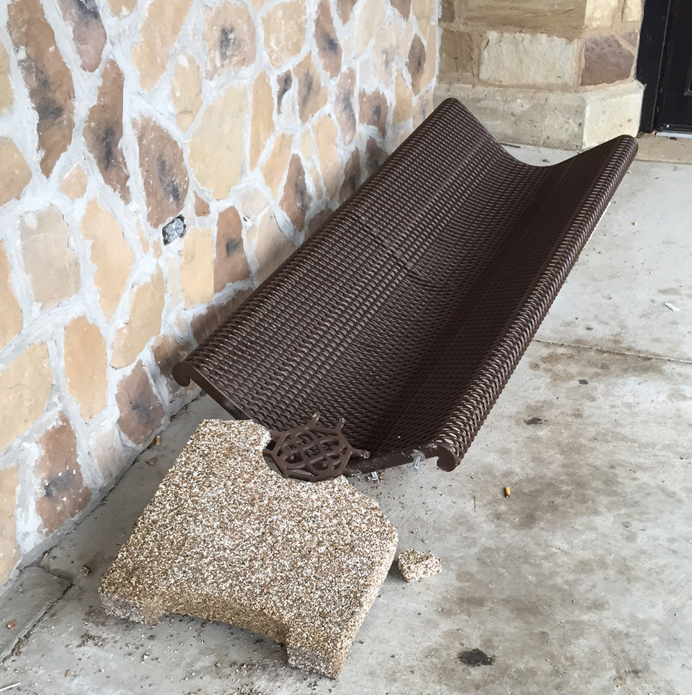 Vandals destroyed this bench at the Heavener Public Library over the weekend.