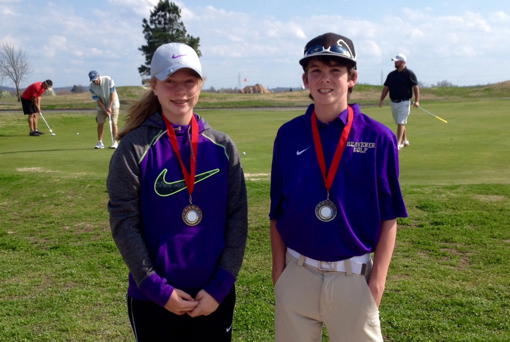 Journey Perdue, left, and Braxton Sullivan, right, of the Heavener Junior High golf team both placed near the top of the Hilldale Golf Tournament on Tuesday