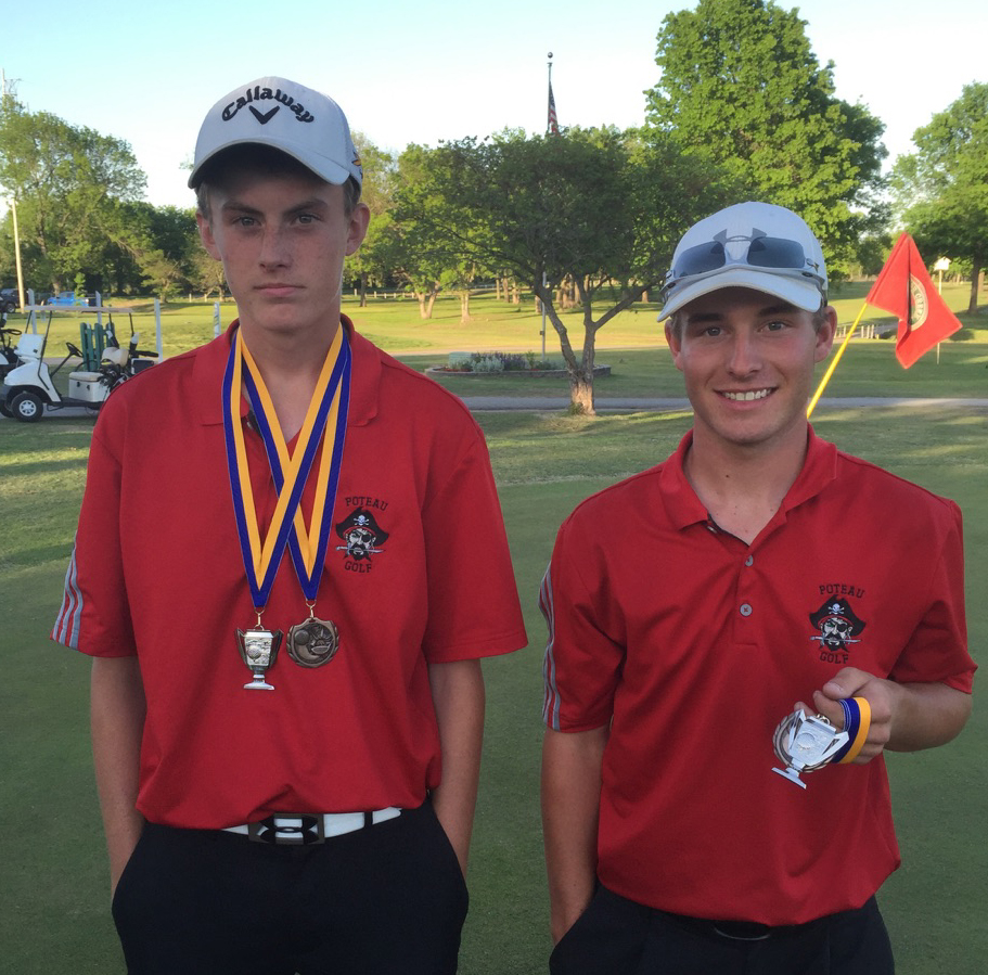 Poteau's Ryan Ward, left, was fourth and Cody Shore, right, finished second at the Pryor Invitational Golf Tournament