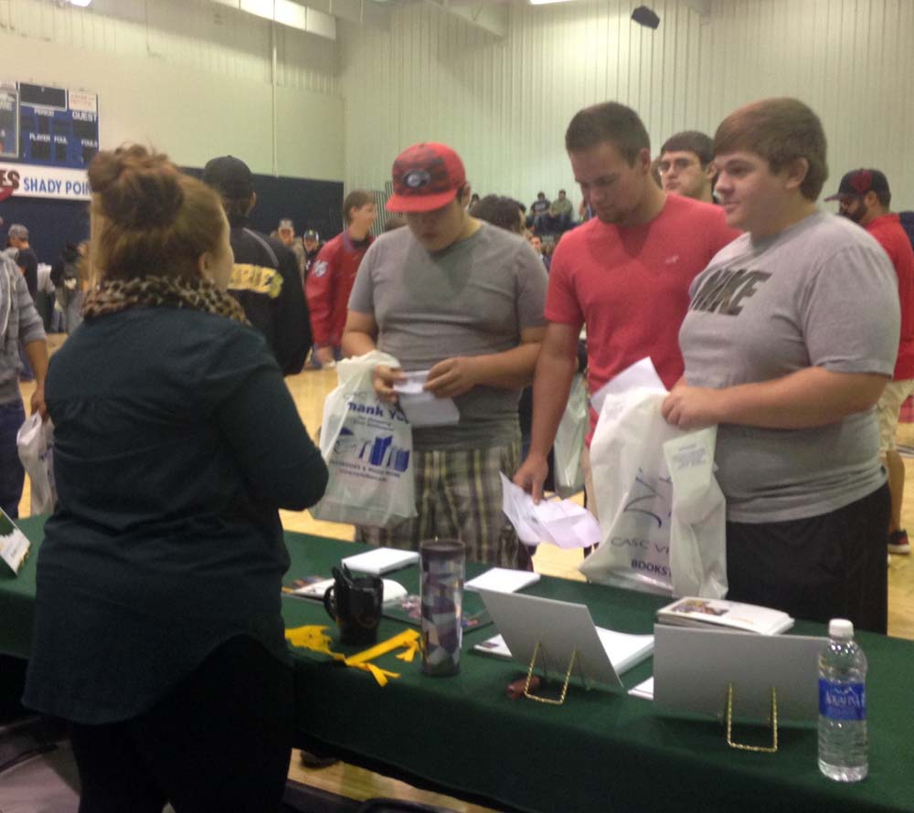 Seniors Theron Bowles, Noah Davis and Hunter Tiffee also attended the college fair.