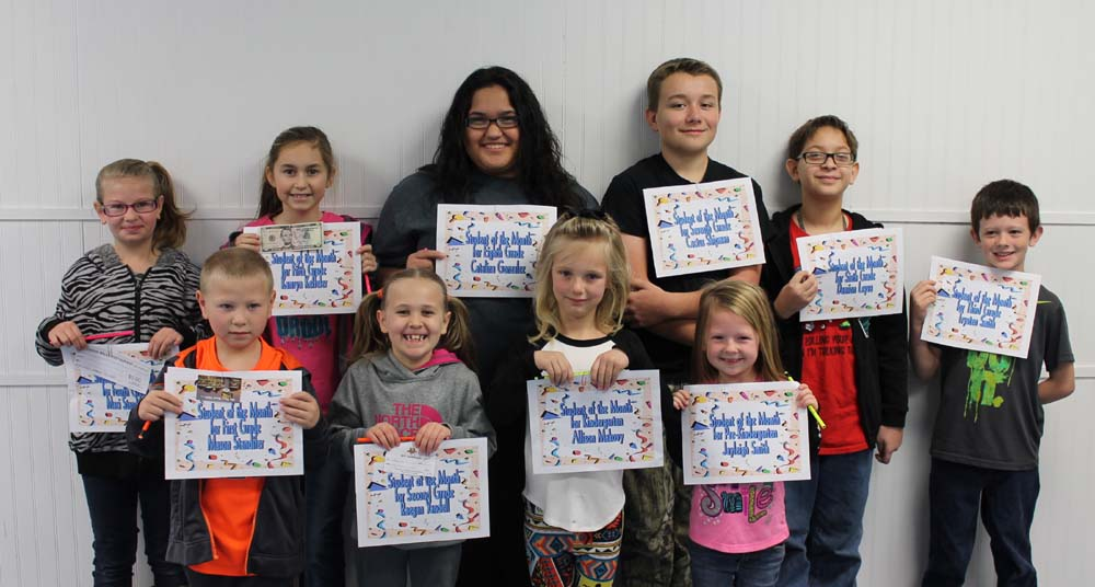 Hodgen students of the month are front row (left to right): Mason Standifer (1st), Raegan Yandell (2nd), Allison Makovy (K) and, Jayleigh Smith (PK). Back row: Maci Standifer (4th), Kamryn Keffeler (5th), Catalina Gonzalez (8th), Cactus Shipman (7th), Damion Leyva (6th) and Trysten Smith (3rd)