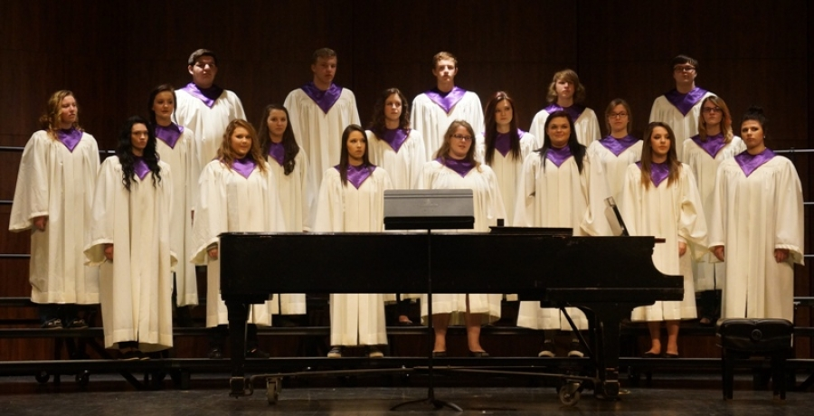 Pictured are members of the choir from left to right: back row Jordan Sisson, Seth Hill, Kolton Lynn,  Jesse Brown, and Thomas Oare; middle row Larissa Deaton, Justyn Lynn,  Logan Deaton,  Mary Stewart, Natalie Cepeda, Amy Hill, and Danielle Jones; front row Ally Stanley, Cailey Yochum, Tristin Hagelberger, Nikita Wemmerus, Ciara Covey, Lexi Mann and Jaci Restine.