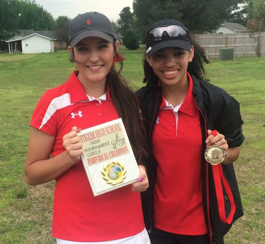 Poteau's Dallas Terry, left, was the medalist and Shelli Cobb finished seventh