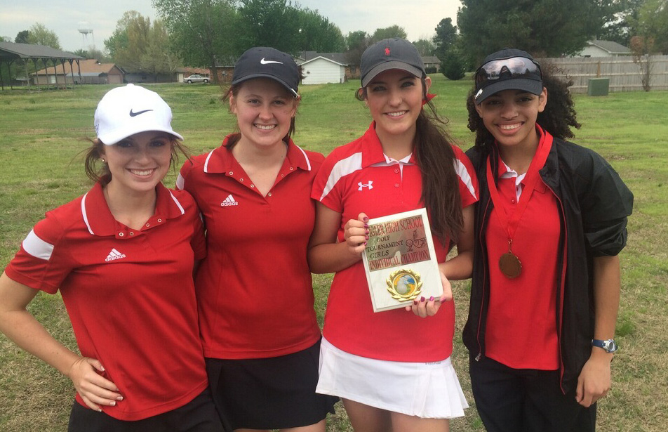 The Poteau Lady Pirates finished fourth at the Stigler Invitational Golf Tournament on Thursday. Pictured are Lily Shore, Charlee Gilliam, Dallas Terry and Shelli Cobb