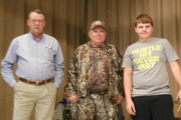 Isaiah Thompson was one of two winners. He is pictured with Bob Carter and Jay Neugin