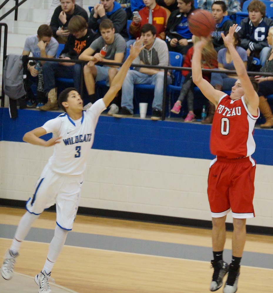 Photo by RAMONA SMITH. Poteau's Austin Skelton fires off a shot in Monday's win over Checotah
