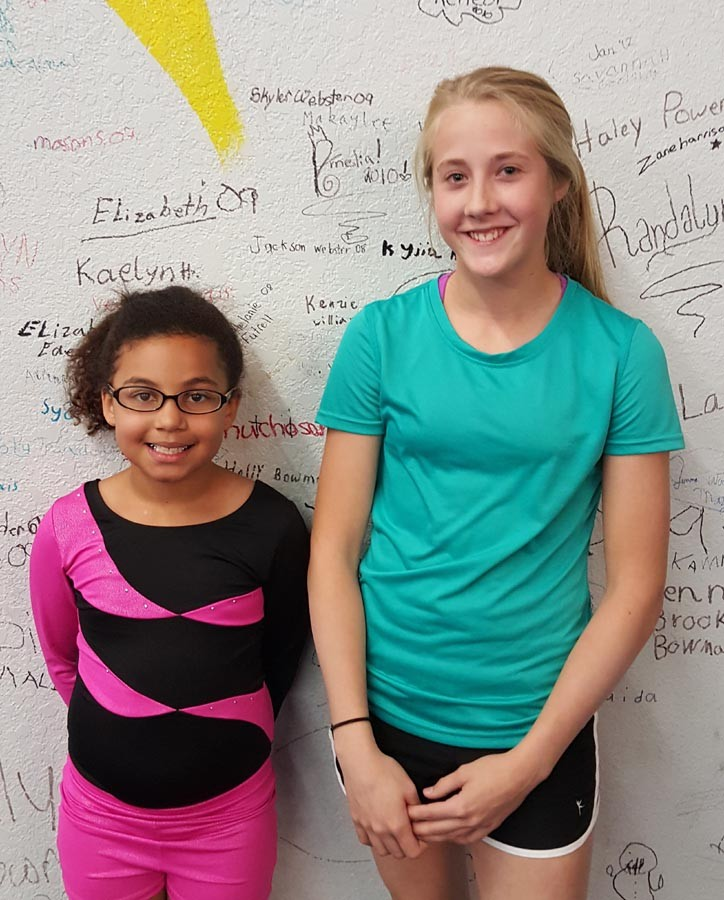 Jaelyn Warren is the gymnastics team star of the month and Whitley Tramel is the cheer star