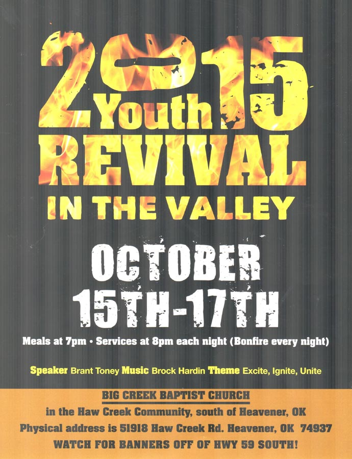 heavenerledger com | Youth Revival in the Valley starts Thursday