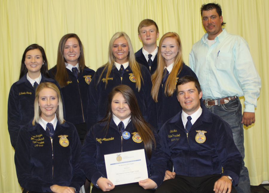 Two state FFA officers, Tanna Frizzell of Byng, the southeast district vice president, is on the first row on the left along with Cale Jahn of Elgin, the state FFA president on the far right, along with Megan Alexander of Heavener in the middle. On the back row are Michaela Stacy, Christian Schiffner, Abbi Moody, Brock Stacy, Emily Yandell and advisor Jeremy Krebbs.