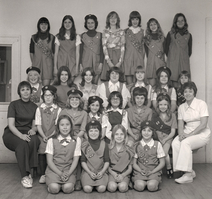 Heavener girl scouts circa mid 1970s. Leaders were Cleta Hinds, left, and Wanda Freeman, seated to the right.